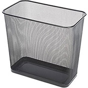 Rectangular Steel Mesh Wastebasket, 7.5 Gal. Black