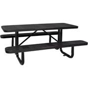 "96"" ADA Picnic Table, Perforated Metal, Surface Mount, Black"