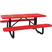 "96"" ADA Picnic Table, Surface Mount, Red"