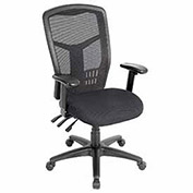 Multifunction Office Chair, Mesh Back, Fabric Upholstered Seat