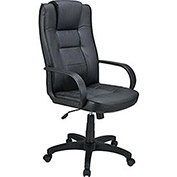 High Back Executive Chair, Breathable Leather, Black