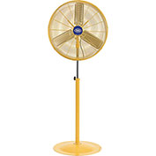 "Deluxe Oscillating Pedestal Fan, 30"" Diameter, Safety Yellow, 1/2HP, 10000CFM"