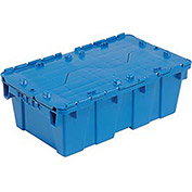 Distribution Container With Hinged Lid, 19-5/8x11-7/8x7, Blue