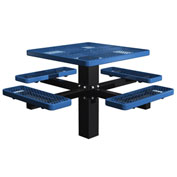 "Single Post 46"" Square Picnic Table, Expanded Metal, Blue"
