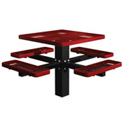"Single Post 46"" Square Picnic Table, Expanded Metal, Red"