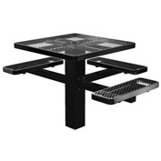 "Single Post 46"" Square ADA Picnic Table, Expanded Metal, Black"