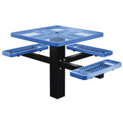 "Single Post 46"" Square ADA Picnic Table, Expanded Metal, Blue"