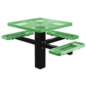 "Single Post 46"" Square ADA Picnic Table, Expanded Metal, Green"