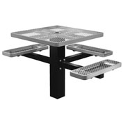 "Single Post 46"" Square ADA Picnic Table, Expanded Metal, Gray"