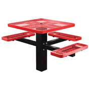 "Single Post 46"" Square ADA Picnic Table, Expanded Metal, Red"