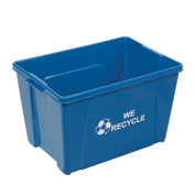 Recycling Bin, Blue, Plastic, 18 Gallon