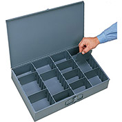 "DURHAM Compartment Box - 18x12x3"" - (13) Compartments - With Adjustable Dividers - Pkg Qty 4"