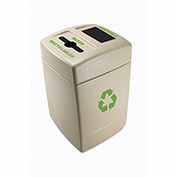 Commercial Zone 55 Gallon Recycling Plastic Trash Container with Mixed Recyclables/Trash Top, Beige