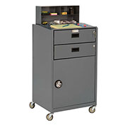 "Mobile Shop Desk, Closed, 23""W x 20""D x 51""H, Gray"