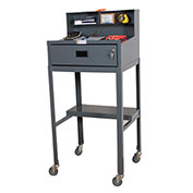 "Mobile Shop Desk, Open, 23""W x 20""D x 51""H, Gray"