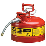 """Justrite 7225120 Type II Safety Can, 2-1/2 Gallon with 5/8"""" Hose"""