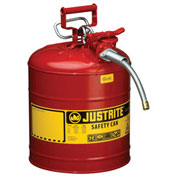 """Justrite 7250120 Type II Safety Can, 5 Gallon with 5/8"""" Hose"""