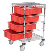 "Chrome Wire Cart With 4 6""H Grid Red Containers, 21X24X45"
