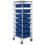 "Chrome Wire Cart With 7 6""H Grid Blue Containers, 21X24X69"
