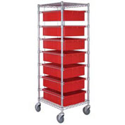 "Chrome Wire Cart With 7 6""H Grid Gray Containers, 21X24X69"