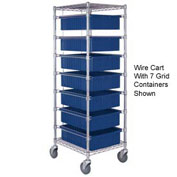 "Chrome Wire Cart With 11 3""H Grid Blue Containers, 21X24X69"