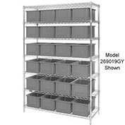 """Chrome Wire Shelving w/(36) 3""""H Grid Container Gray, 60x24x63"""