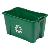 Rubbermaid Recycling Container, 18 Gallon, Green