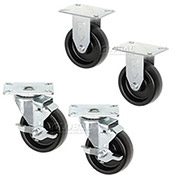 "Americraft Set of (4) 4"" Plate Casters 2 With Brake for Man Coolers"