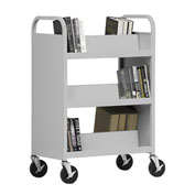 SANDUSKY Double-Sided Slant 6 Shelf Steel Book Cart 37x18, Gray