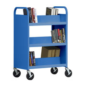 SANDUSKY Double-Sided Slant 6 Shelf Steel Book Cart 37x18 Blue