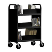 SANDUSKY Double-Sided Slant 6 Shelf Steel Book Cart 37x18, Black