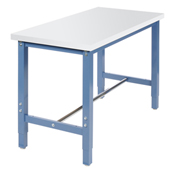 "Production Workbench Return - Plastic Laminate Square Edge - Blue, 48""W x 24""D"