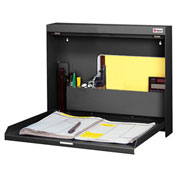 "Datum Wallwrite Fold-up Desk, Non-Locking, 20""W x 3-3/8""D x 16-3/8""H, Black"