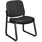 "OFM Anti-Microbial Vinyl-Upholstered Chairs - 21-3/4x26-1/2x33"" - Without Arms - Black"