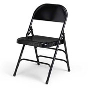 Folding Chair, Steel, Black - Pkg Qty 4