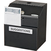 "Suggestion Box, Steel, Black, 7""W x 6""D x 8-1/2""H"