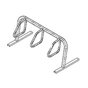 City Bicycle Rack, Single Sided, Flange Mount, 3-Bike