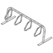 City Bicycle Rack, Single Sided, Flange Mount, 4-Bike