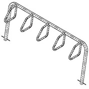 City Bicycle Rack, Single Sided, Below Grade Mount, 5-Bike