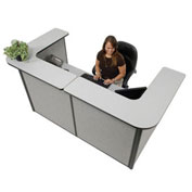 "88"" W x 44""D x 44""H U-Shaped Reception Station, Gray Counter/Gray Panel"