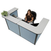 "88"" W x 44""D x 44""H U-Shaped Reception Station, Gray counter/Blue Panel"