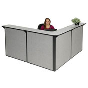 "80""W x 80""D x 44""H L-Shaped Reception Station, Gray Counter/Gray Panel"