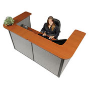 "88"" W x 44""D x 44""H U-Shaped Reception Station, Cherry counter/Gray panel"