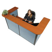 "88"" W x 44""D x 44""H U-Shaped Reception Station, Cherry Counter/Blue Panel"