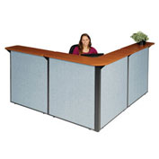 "80""W x 80""D x 44""H L-Shaped Reception Station, Cherry Counter/Blue Panel"