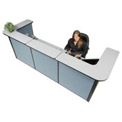 """124""""W x 44""""D x 44""""H U-Shaped Reception Station, Gray counter/Blue Panel"""