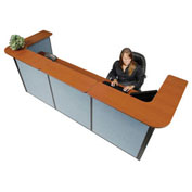 "124""W x 44""D x 44""H U-Shaped Reception Station, Cherry Counter/Blue Panel"
