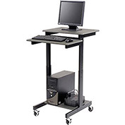 Luxor Black Prestige 3-Shelf Computer Presentation Workstation Chart