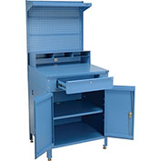 "Shop Desk w/Lower Cabinet, Pigeonhole Compartment w/Pegboard Riser, 34-1/2""W x 30""D x 80""H, Blue"