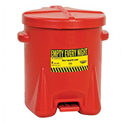 "EAGLE Polyethylene Waste Can - 16-1/2"" Dia.x13-1/2""H - 6-Gallon Capacity - Red"